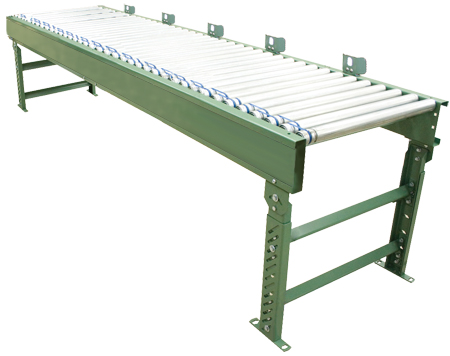 Powered roller zero pressure accumulating conveyor with rollers set high
