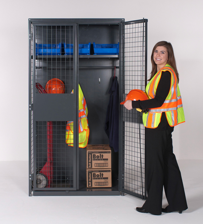 Industrial Storage Locker with Hanger Bar and Shelves