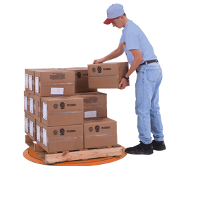 Roll On Turntable LPT with Worker Stacking Boxes