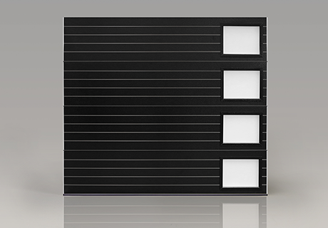 Modern Steel Collection Black Ribbed Garage Door