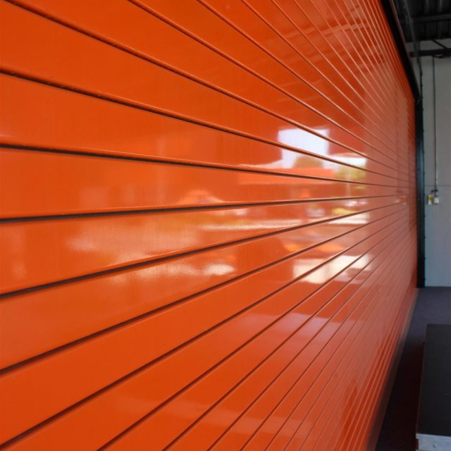 Orange Storage Door with Slats
