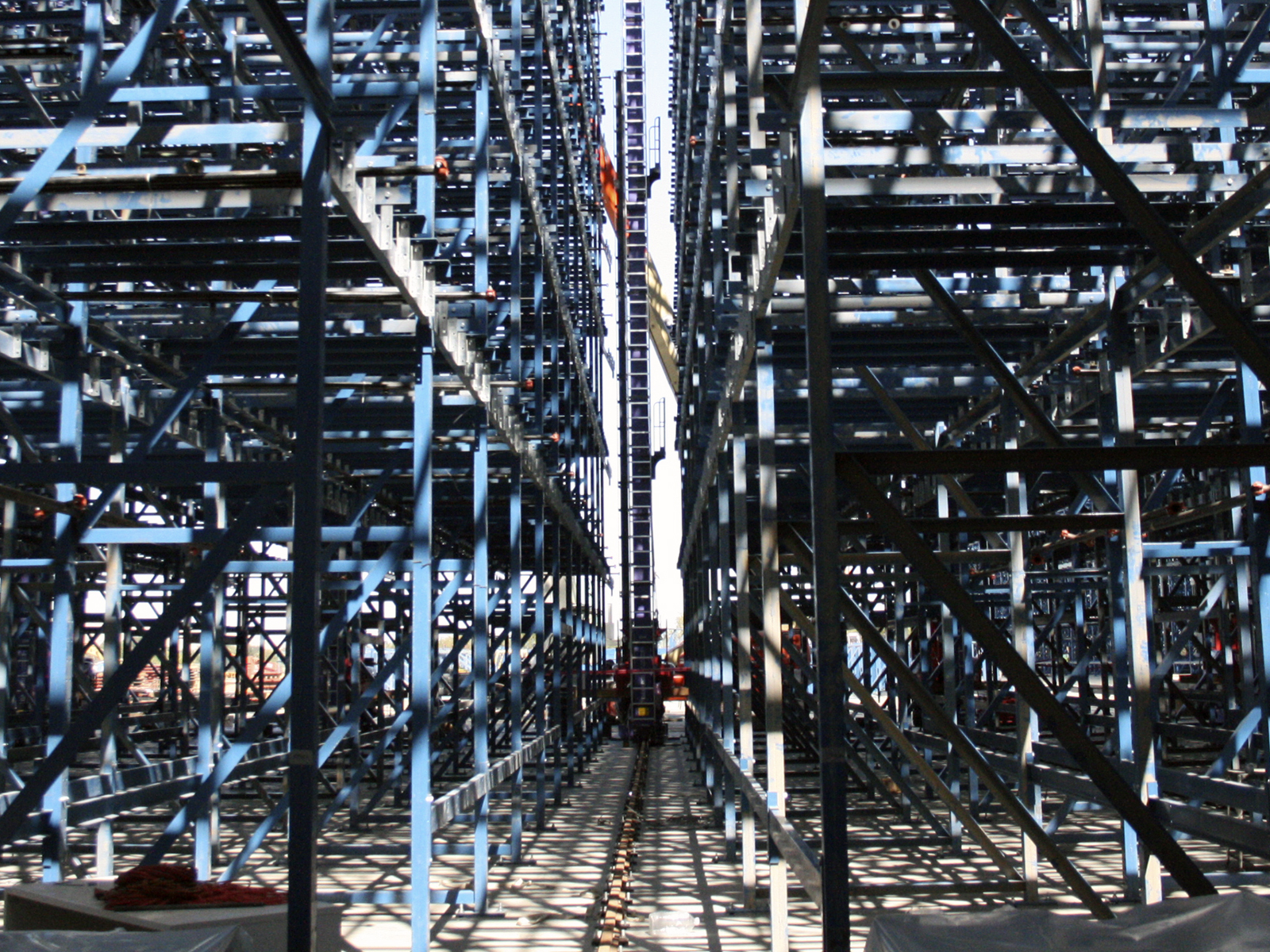 View Down Automated Storage and Retrieval System Aisle