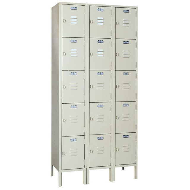 Lyon standard steel locker five tier 3 wide putty