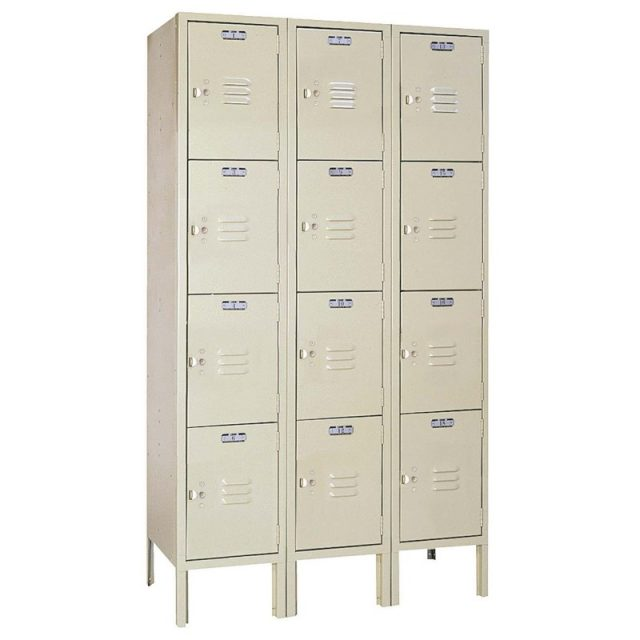 Lyon standard steel locker four tier 66h 3 wide putty