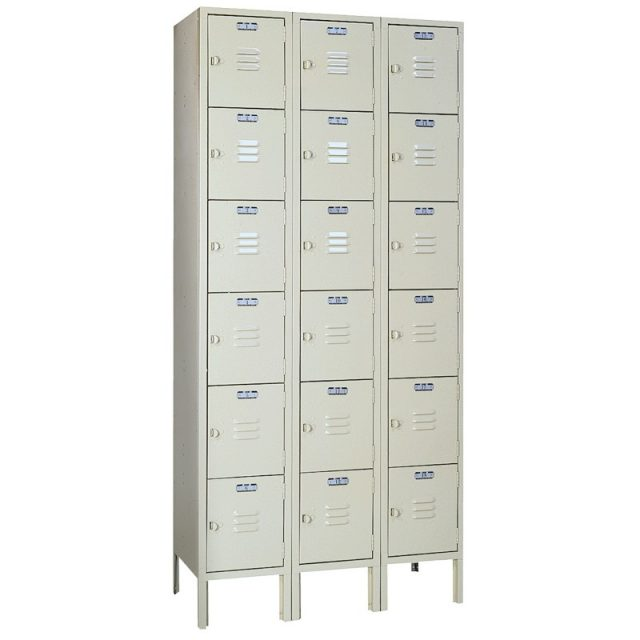 Lyon standard steel locker six tier 3 wide putty
