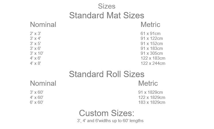 Plush Tuff Solid Mat Sizes