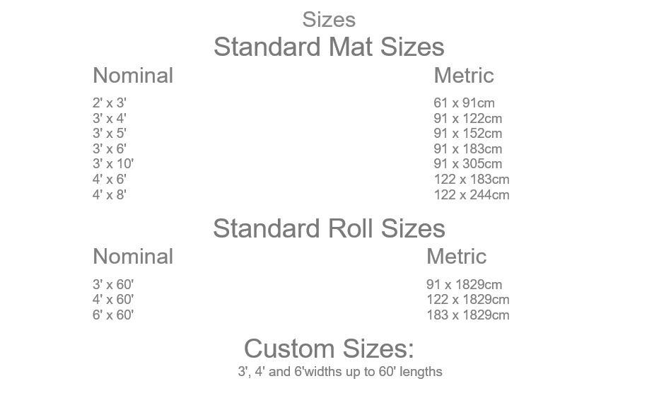Standard Tuff Mat Sizes