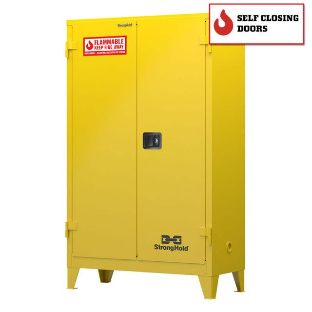 Flammable safety cabinet with self closing doors 45 gallon