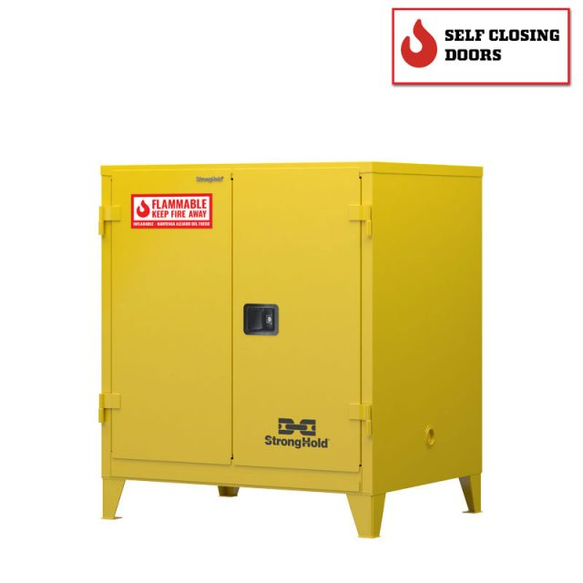 Flammable safety cabinet with self closing doors 60 gallon