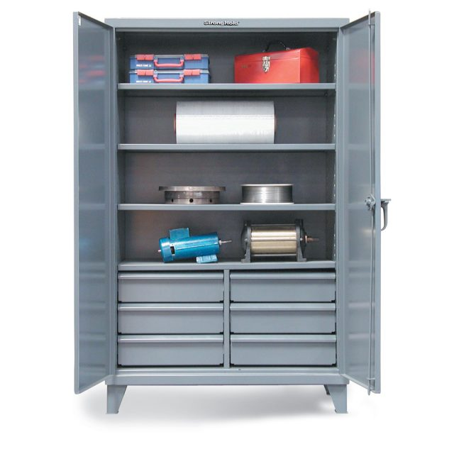 industrial cabinet with lower half width drawers