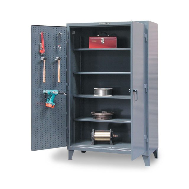 stronghold industrial storage cabinet with pegboard doors