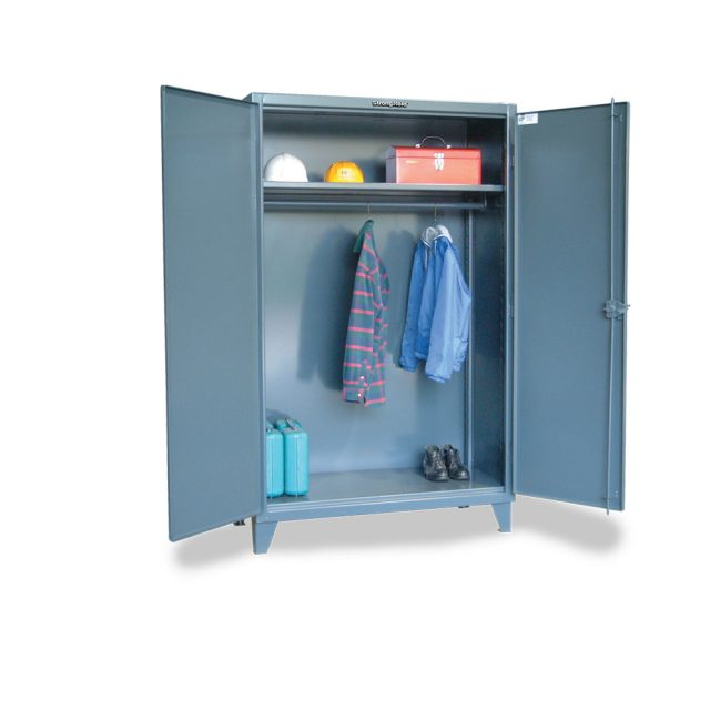 industrial uniform cabinet with full width hanging rod