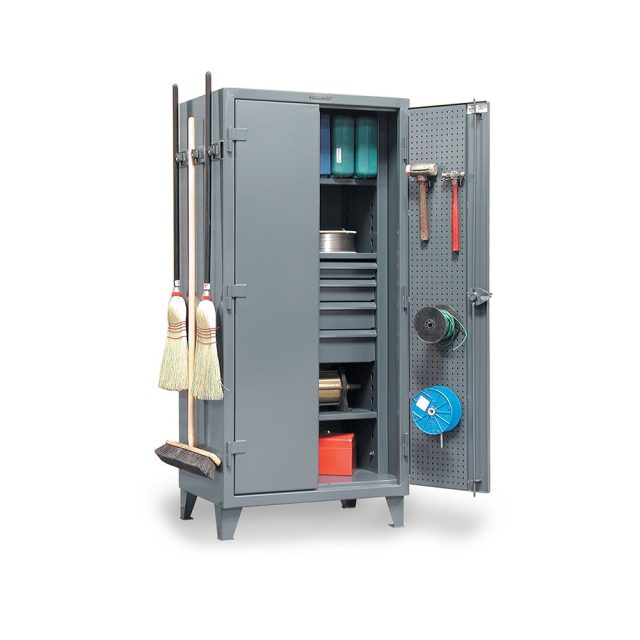 janitorial tool and supply storage cabinet