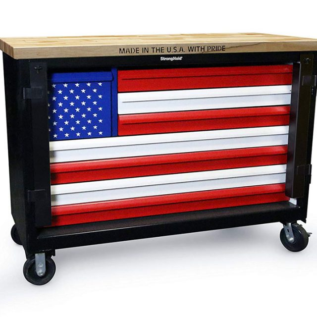 american flag tool cart with maple wood top