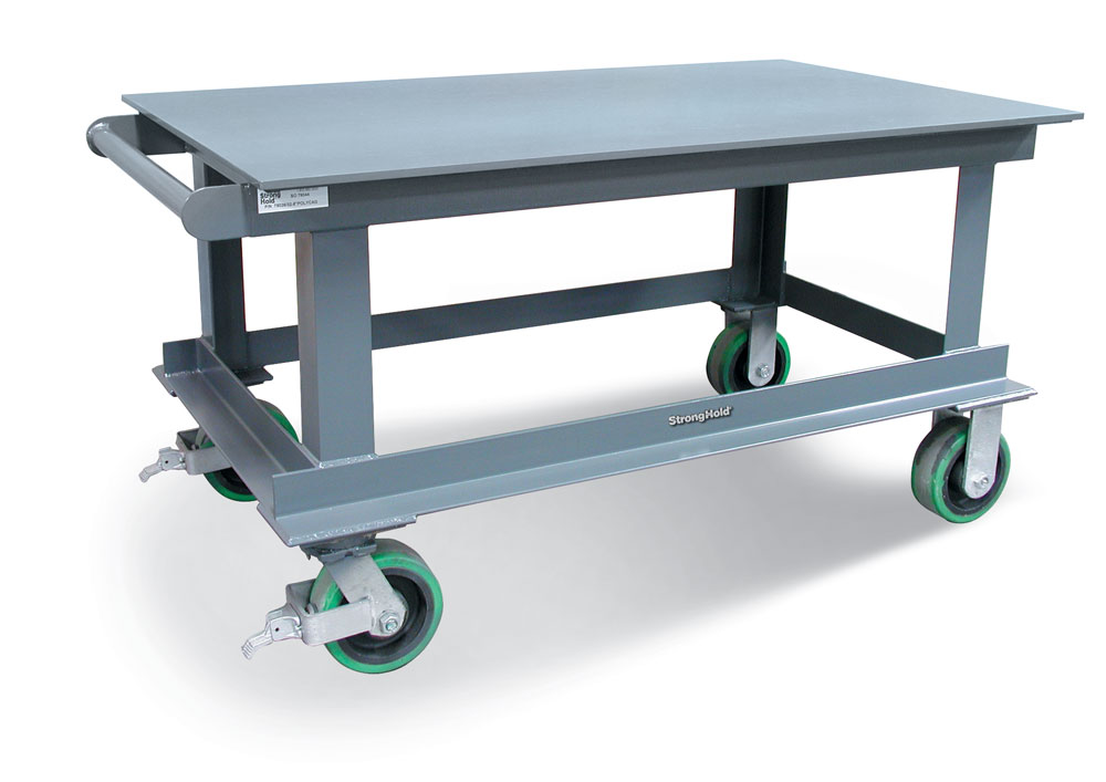 heavy duty mobile shop table with half inch steel plate top