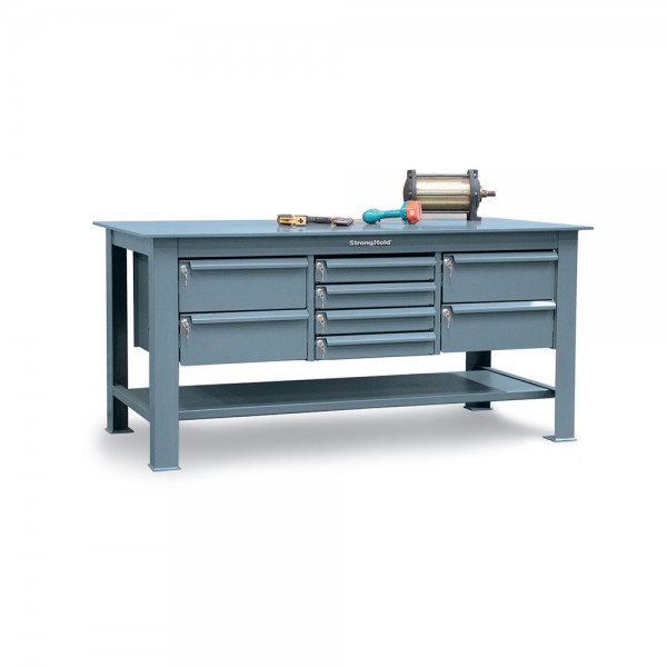 heavy duty shop table with half inch steel plate top and key lock drawers