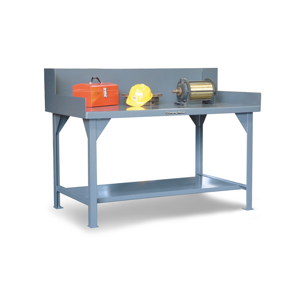 industrial shop table with side guards