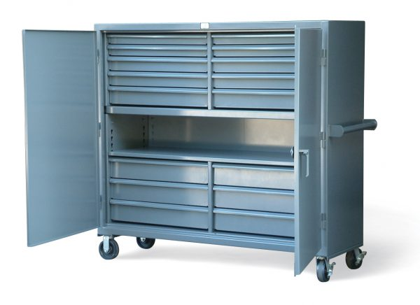 mobile cabinet with 16 drawers and center shelf