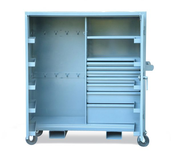 mobile cabinet with door pockets and hooks