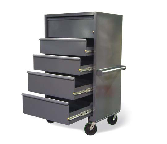 mobile drawer cabinet with lock in and lock out slides