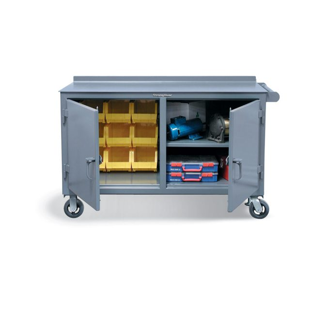 mobile maintenance cart with 2 locking compartments