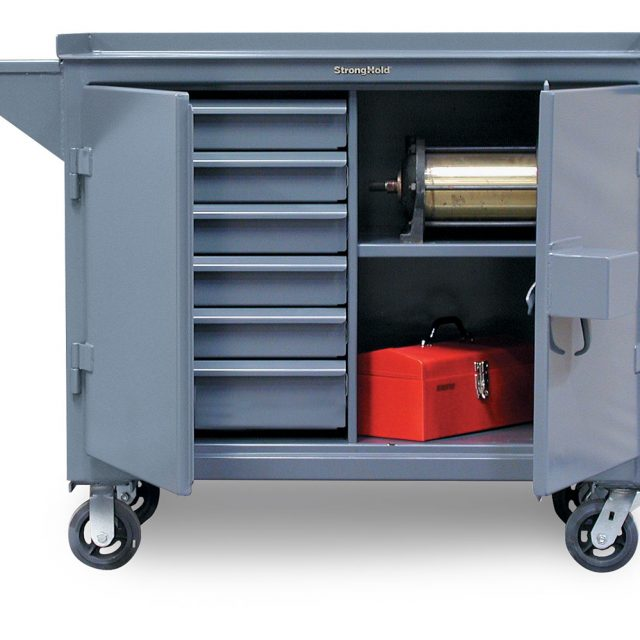 mobile maintenance cart with vise shelf and lock guard