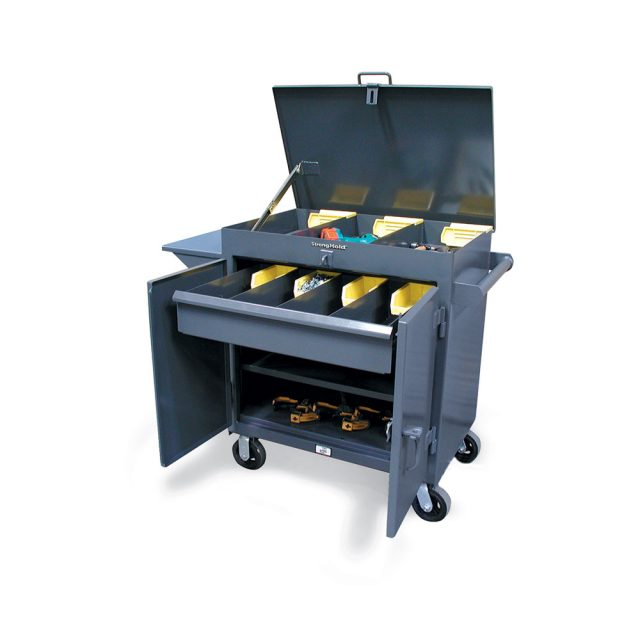 mobile tool cart with lift up lid