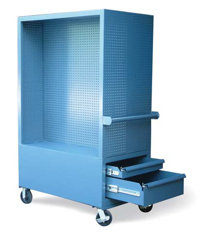 mobile tool cart with pegboard interior and 4 drawers