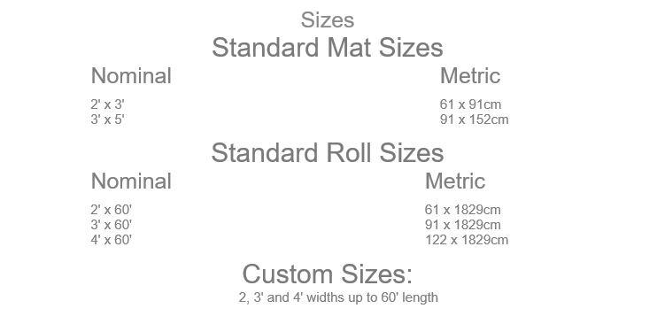 Apache Stat™ Soft Foot Floor Mat Sizes