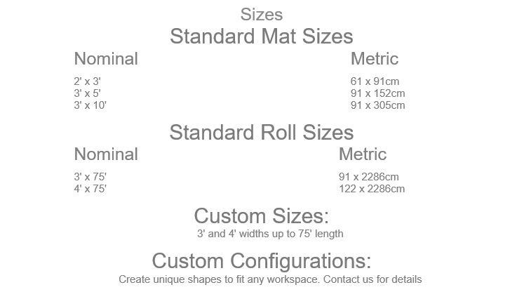 Conductive Diamond Foot Black Floor Mat Sizes