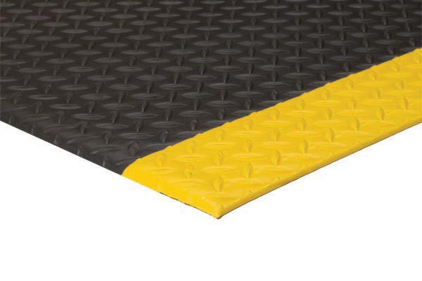 Diamond Deluxe Soft Foot Mat Black with Yellow border