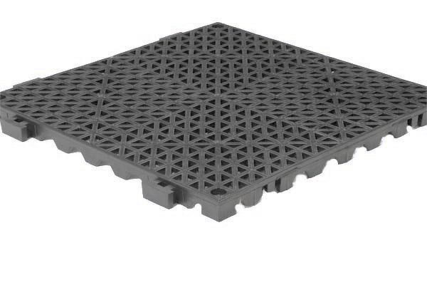 Grid Step Modular Floor mat dark gray color