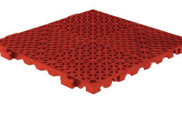Grid Step Floor mat red