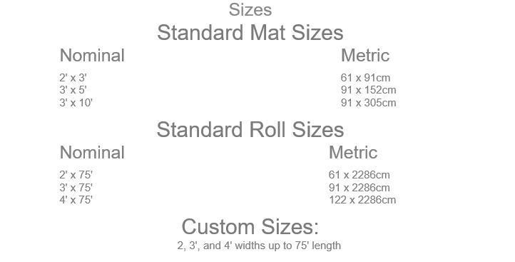Weldmaster Mat Sizes