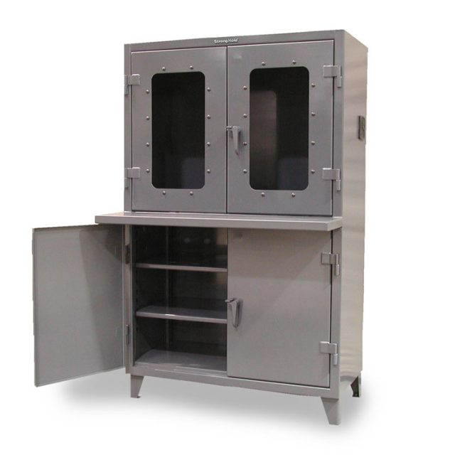 Stronghold clear view computer cabinet with welded shelf