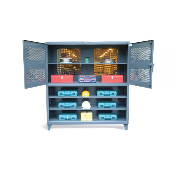 combination ventilated cabinet and shelving unit