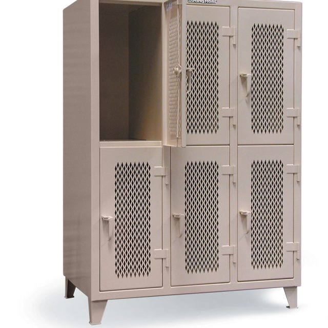 double tier ventilated cabinet with 3 shelves