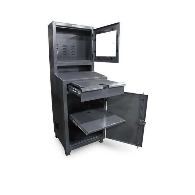Stronghold flat screen industrial computer cabinet