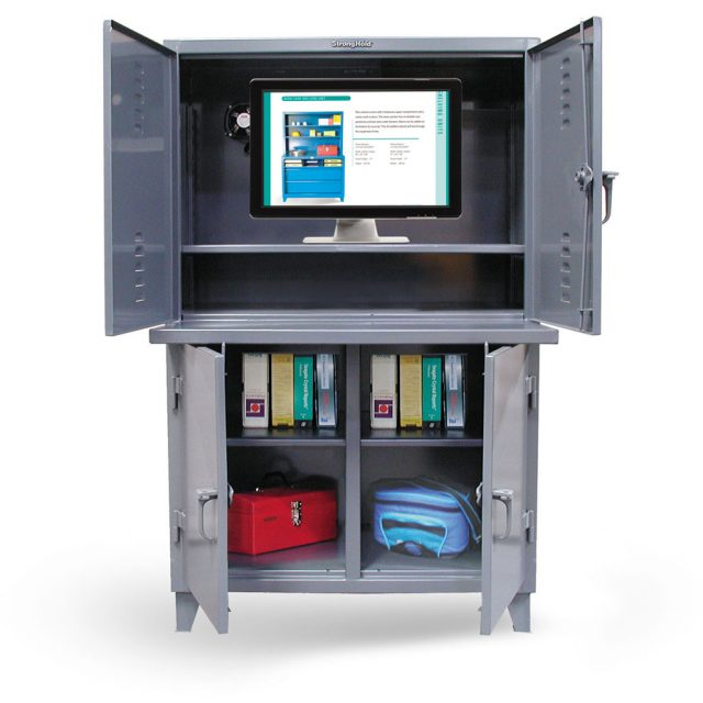 Stronghold industrial computer cabinet with 3 compartments