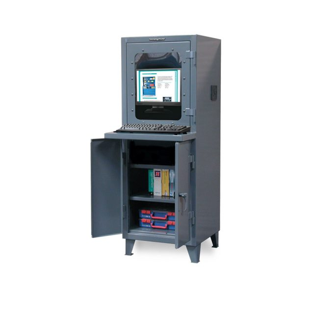 Stronghold industrial computer cabinet with welded shelf