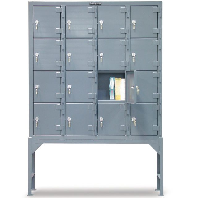 Stronghold industrial locker with 16 compartments and key locks