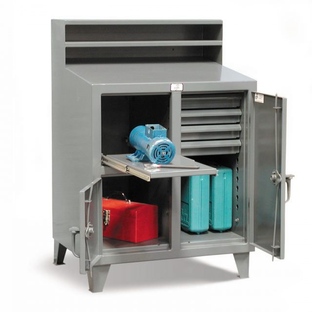 industrial shop desk and tool storage