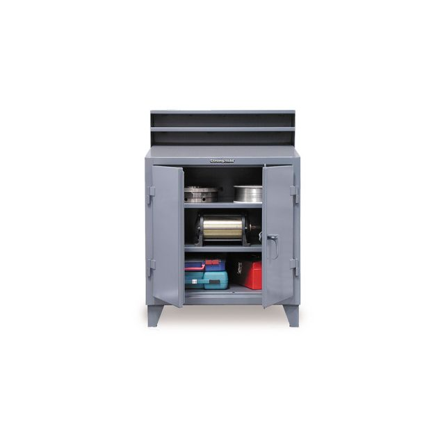 industrial shop desk with lockable storage