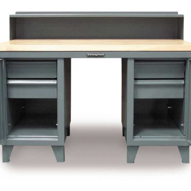 industrial shop desk with maple top