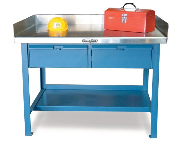 industrial shop table with 2 drawers and stainless steel top