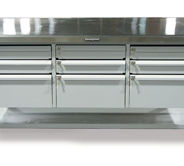 Stronghold industrial shop table with 9 key lock drawers and stainless steel top