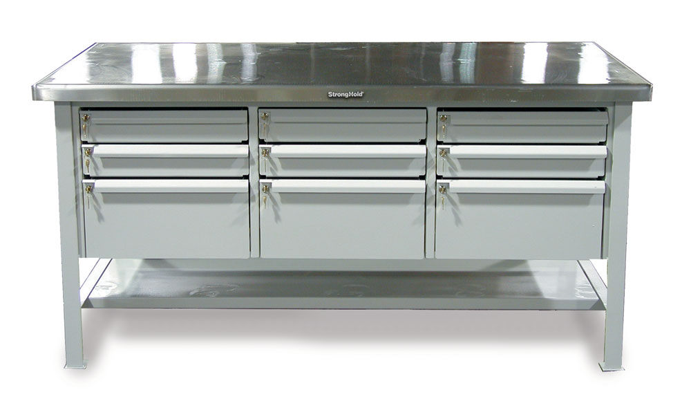 industrial shop table with 9 key lock drawers and stainless steel top