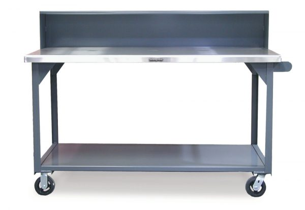 industrial shop table with casters and stainless steel top
