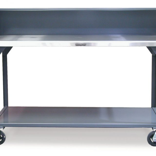 Stronghold Industrial shop table with casters and stainless steel top