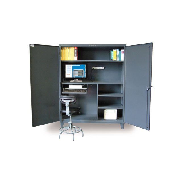 Stronghold industrial storage and computer cabinet